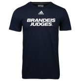 Adidas Climalite Navy Ultimate Performance Tee-Brandeis Judges Wordmark