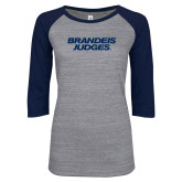 ENZA Ladies Athletic Heather/Navy Vintage Triblend Baseball Tee-Brandeis Judges Wordmark