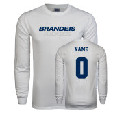 White Long Sleeve T Shirt-Brandeis Judges Wordmark, Personalized Name and #