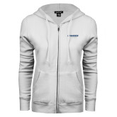 ENZA Ladies White Fleece Full Zip Hoodie-Brandeis Judges Wordmark