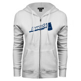 ENZA Ladies White Fleece Full Zip Hoodie-Brandeis Athletics