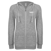 ENZA Ladies Grey/Black Marled Full Zip Hoodie-Brandeis Judges Wordmark