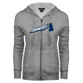 ENZA Ladies Grey Fleece Full Zip Hoodie-Brandeis Athletics