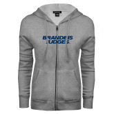 ENZA Ladies Grey Fleece Full Zip Hoodie-Brandeis Judges Wordmark