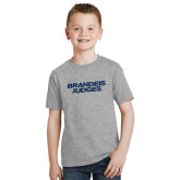 Youth Grey T-Shirt-Brandeis Judges Wordmark