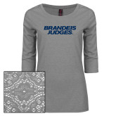 Ladies Grey Heather Tri Blend Lace 3/4 Sleeve Tee-Brandeis Judges Wordmark