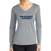 Ladies Syntrel Performance Platinum Longsleeve Shirt-Brandeis Judges Wordmark