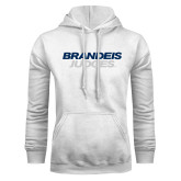 White Fleece Hoodie-Brandeis Judges Wordmark