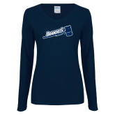 Ladies Navy Long Sleeve V Neck T Shirt-Brandeis Athletics