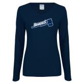 Ladies Navy Long Sleeve V Neck Tee-Brandeis Athletics