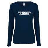 Ladies Navy Long Sleeve V Neck T Shirt-Brandeis Judges Wordmark