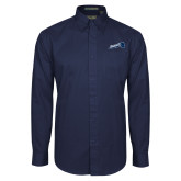 Navy Twill Button Down Long Sleeve-Brandeis Athletics