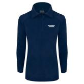 Columbia Ladies Half Zip Navy Fleece Jacket-Brandeis Judges Wordmark