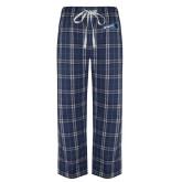 Navy/White Flannel Pajama Pant-Brandeis Athletics
