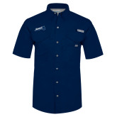 Columbia Bonehead Navy Short Sleeve Shirt-Brandeis Athletics