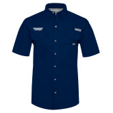 Columbia Bonehead Navy Short Sleeve Shirt-Brandeis Judges Wordmark