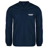 V Neck Navy Raglan Windshirt-Brandeis Judges Wordmark