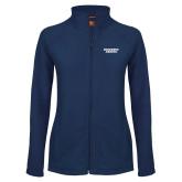 Ladies Fleece Full Zip Navy Jacket-Brandeis Judges Wordmark