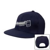 Navy Flat Bill Snapback Hat-Brandeis Athletics