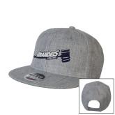 Heather Grey Wool Blend Flat Bill Snapback Hat-Brandeis Athletics