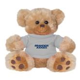 Plush Big Paw 8 1/2 inch Brown Bear w/Grey Shirt-Brandeis Judges Wordmark