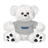 Plush Big Paw 8 1/2 inch White Bear w/Grey Shirt-Brandeis Judges Wordmark
