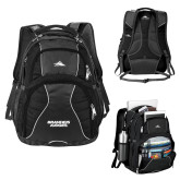 High Sierra Swerve Black Compu Backpack-Brandeis Judges Wordmark