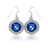 Crystal Studded Round Pendant Silver Dangle Earrings-Becker College Shield