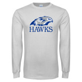 White Long Sleeve T Shirt-Hawks Logo