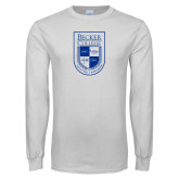 White Long Sleeve T Shirt-Becker College Shield