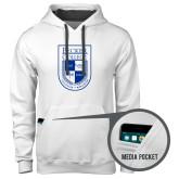 Contemporary Sofspun White Hoodie-Becker College Shield