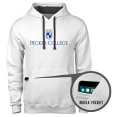 Contemporary Sofspun White Hoodie-Shield w/ Becker College