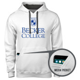 Contemporary Sofspun White Hoodie-Shield w/ Becker College Stacked