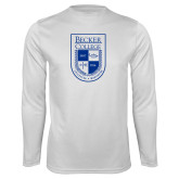 Performance White Longsleeve Shirt-Becker College Shield