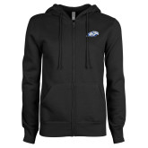 ENZA Ladies Black Fleece Full Zip Hoodie-Hawk Head