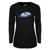 Ladies Syntrel Performance Black Longsleeve Shirt-Hawk Head