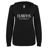 ENZA Ladies Black V Notch Raw Edge Fleece Hoodie-Football