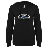 ENZA Ladies Black V Notch Raw Edge Fleece Hoodie-Football Graphic