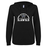 ENZA Ladies Black V Notch Raw Edge Fleece Hoodie-Soccer Graphic