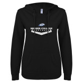 ENZA Ladies Black V Notch Raw Edge Fleece Hoodie-Softball Graphic