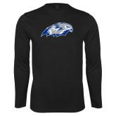 Performance Black Longsleeve Shirt-Hawk Head