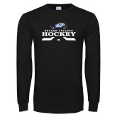 Black Long Sleeve T Shirt-Hockey Graphic