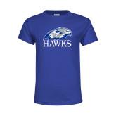 Youth Royal T Shirt-Hawks Logo