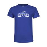 Youth Royal T Shirt-Hockey Graphic
