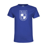 Youth Royal T Shirt-Becker College Shield