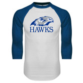 White/Royal Raglan Baseball T Shirt-Hawks Logo