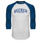 White/Royal Raglan Baseball T Shirt-Becker College