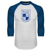 White/Royal Raglan Baseball T Shirt-Becker College Shield