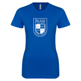 Next Level Ladies SoftStyle Junior Fitted Royal Tee-Becker College Shield