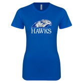 Next Level Ladies SoftStyle Junior Fitted Royal Tee-Hawks Logo